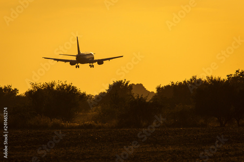 obraz lub plakat Air plane landing on the track at sunset with beautiful sky in background