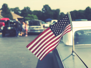 American Flag on Vintage Classic Car at Cruise In Car Show, Retro Style