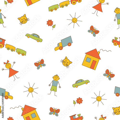 obraz PCV Seamless pattern with children's drawings on a white background. It can be used as a background for the websites, packing, fabrics, wallpapers. Vector illustration.
