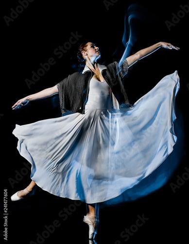 one caucasian woman modern ballet dancer dancing woman studio shot isolated on black bacground - 241477604