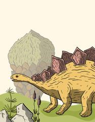 Stegosaurus Dinosaur in its habitat