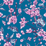 Vector spring seamless pattern, vintage floral bouquet with pink blooming branches of cherry peach - 241481699
