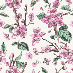Vector spring seamless pattern, vintage floral bouquet with pink blooming branches of cherry peach