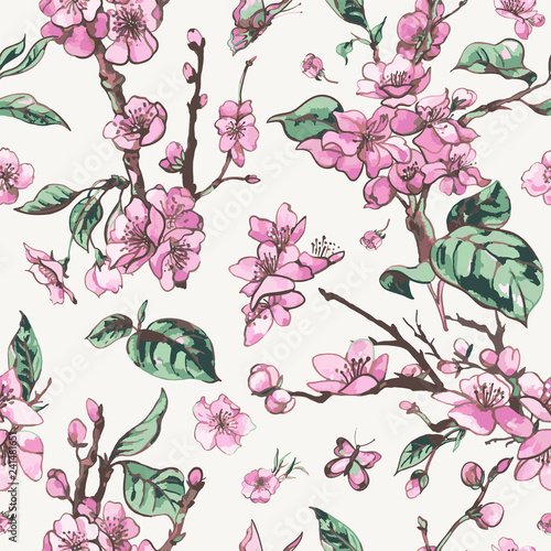 Vector spring seamless pattern, vintage floral bouquet with pink blooming branches of cherry peach - 241481651