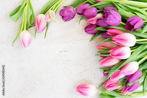 Leinwanddruck Bild Pink fresh tulips