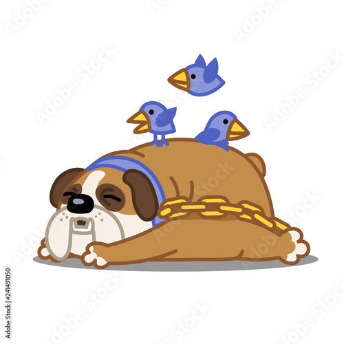 A Cartoon Vector Image Of A Sleeping Bulldog With Birds Flying Over