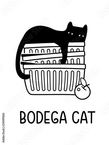 A Vector Cartoon Drawing Of A Black Cat Sleeping In A Stack Of Bodega Shoppig Carts