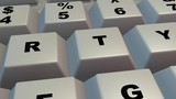 Computer keyboard , keys . Clean surface. Extreme close up, macro view. Camera zoom out. 3d animation - 241494060