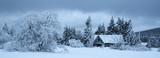 Leśna chata w górach zimą - 241501662