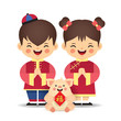 Cute cartoon chinese boy and girl with piggy holding chinese couplet isolated on white. Chinese kids in flat vector design. 2019 year of the pig illustration. (translation: blessing)