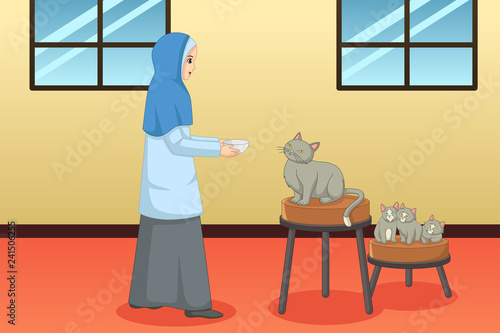 Muslim Woman Feeding Cat and Kitten at Home Illustration - 241506255
