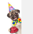 Leinwanddruck Bild - Puppy in party hat with retro wallet on the metal clasp behind empty white banner. isolated on white background