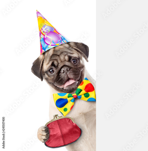Leinwanddruck Bild Puppy in party hat with retro wallet on the metal clasp behind empty white banner. isolated on white background