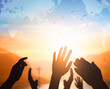 Leinwanddruck Bild - World Religion Day Concept: Human open two empty hands  up  background
