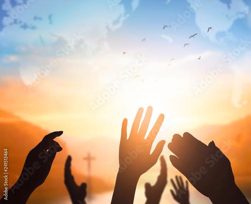 Leinwanddruck Bild World Religion Day Concept: Human open two empty hands  up  background