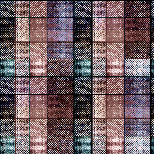 Seamless tartan plaid. Brown, blue, lilac cell background.