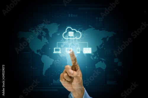 Cloud server application and hosting on internet network conceptual image