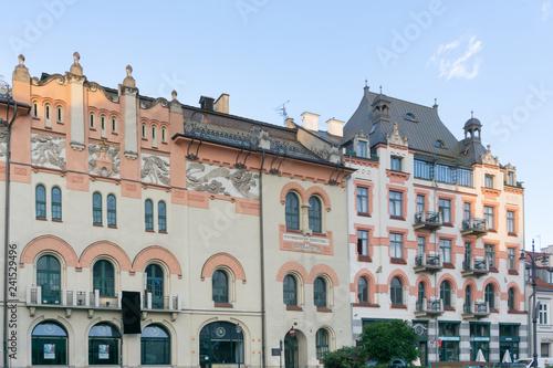 KRAKOW, POLAND - August 27, 2017: antique building view in Krakow, Poland