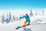 Young man skiing on piste - 241536801