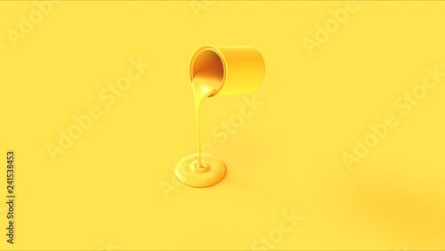 Yellow Paint Tin Pouring 3d illustration 3d render