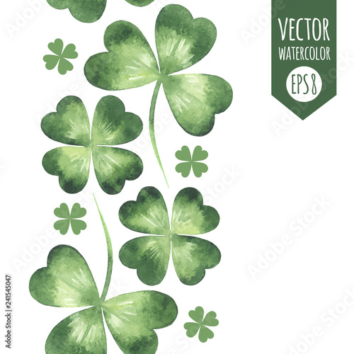 Vertical seamless border, frame made of green watercolor vector clover leaves, shamrock, trefoil, quarterfoil. St. Patrick's Day watercolour design element, template for cards, greetings.