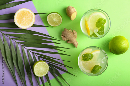 Leinwandbild Motiv Composition with tasty lemonade on color background