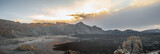 Panorama of mountain landscape with clouds on tenerife island.
