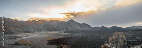 Foto Murales Panorama of mountain landscape with clouds on tenerife island.