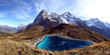 Leinwanddruck Bild - Speichersee mit Eiger, Mönch und Jungfrau