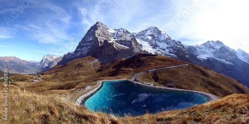 Leinwanddruck Bild Speichersee mit Eiger, Mönch und Jungfrau