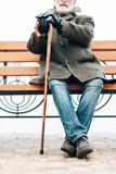 Pleased bearded man having rest during walk - 241566284