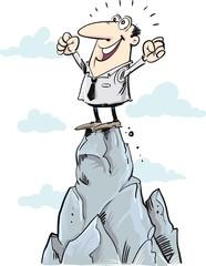 Concept of leadership. Man on the top of mountain. Winner © Moriz