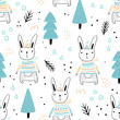Seamless pattern with cute hares