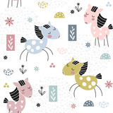Kids seamless pattern with cute horses - 241570652