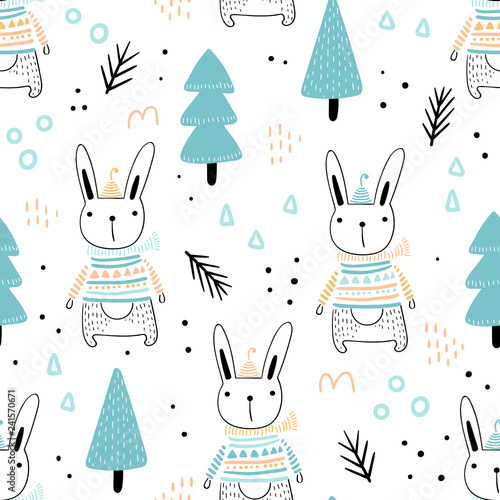 obraz PCV Seamless pattern with cute hares