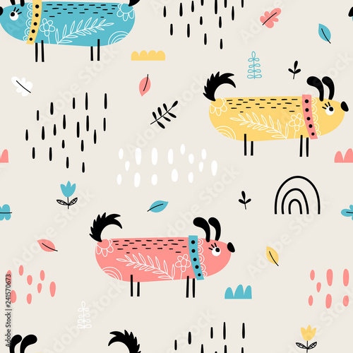 obraz lub plakat Seamless pattern with cute doodle dogs
