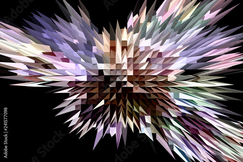 Fractal image: fancy abstract drawing, black background. - 241577098