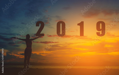 Leinwanddruck Bild Silhouette happy woman with New Year 2019 on the beach at sunset. Vintage tone