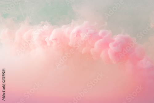 Abstract pastel pink color paint with pastel blue background.. Fluid composition with copy space. Minimal natural luxury. - 241579254