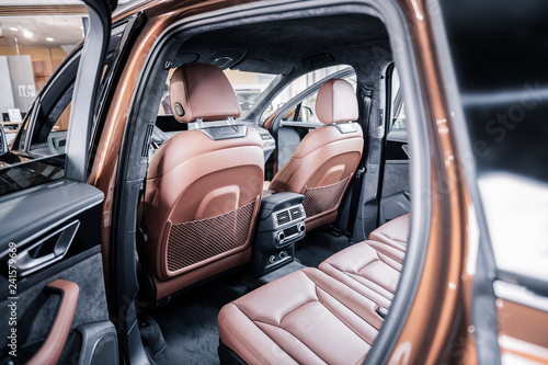 New Hatchback Car With Brown Leather Interior With Opened Doors