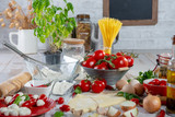 ingredients for preparation of the delicious pizza - 241580274