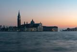 Night view of bacino San Marco and San Giorgio Maggiore church in Venice, Italy