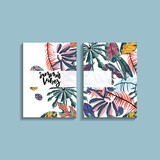 Tropical palm leaves card design. - 241581264