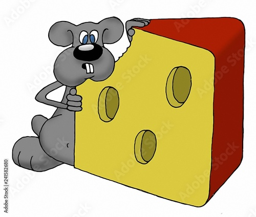 Gray funny mouse from comic book - 241582680
