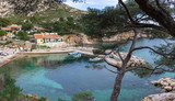 Panorama of a little beautiful harbor in Mediterranean sea - Marseille Calanque of Sormiou - 241583092
