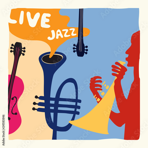 Jazz Music Festival Poster With Trumpet And Violoncello Flat Vector