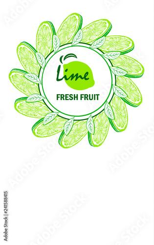 Banner with sliced lime pieces, leaves. Template for design juice, lemonade, cosmetic, natural medicine, herbal tea, food menu.