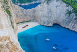 Greece, Zakynthos, Rusty ship wreck in famous paradise bay navagio beach from above - 241589823