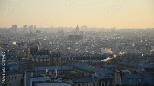 Panoramic view of Paris with the roofs