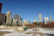 View of downtown Chicago with blue skies